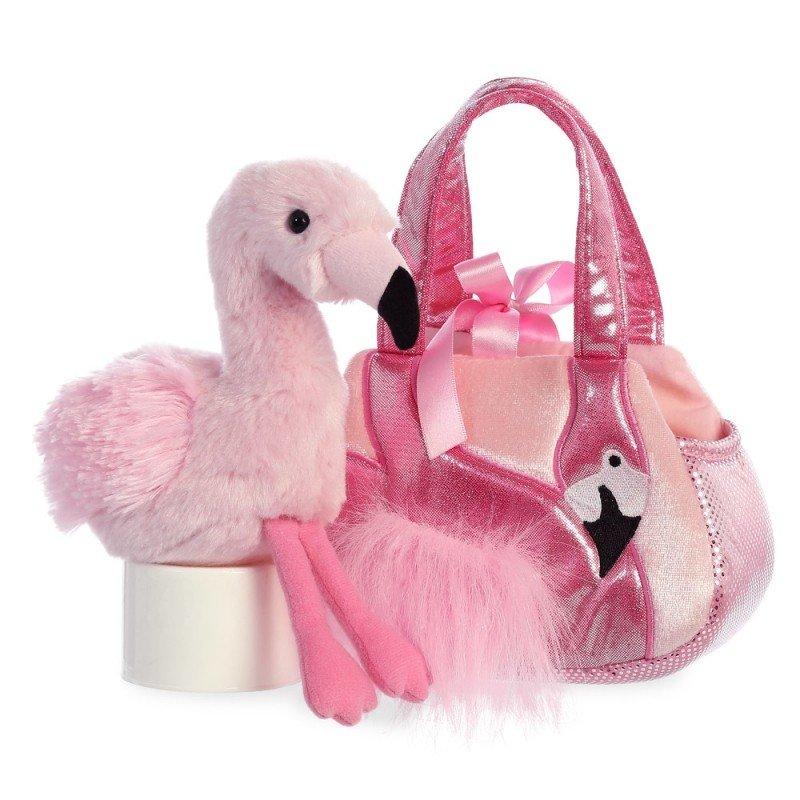 Flamingo Ava, Tasche AuroraWorld Luxe Boutique Plüschtiere | Kuscheltier.Boutique