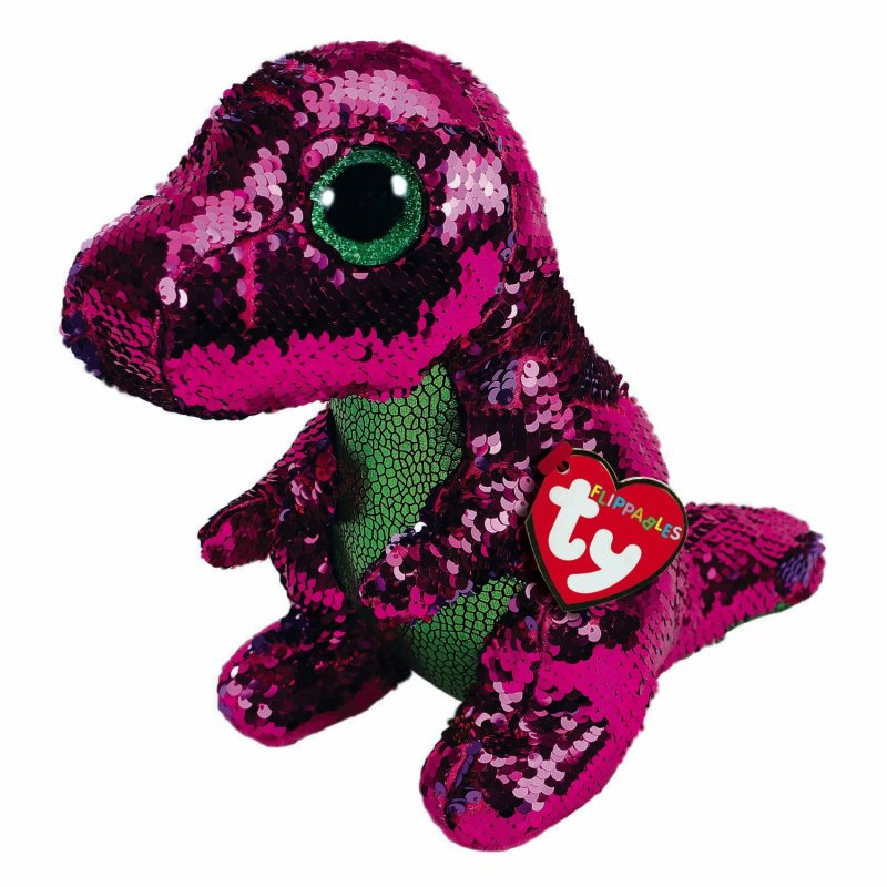 Ty Flippables: Dinosaurier Crunch, 15 cm pink / violett