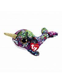 Ty Flippables: Robby Waves, 15cm Narwal Calypso, 15cm regenbogenbunt / silber