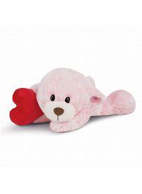 NICI Teddybären: liegendes Bären Mädchen mit Herz, 20cm