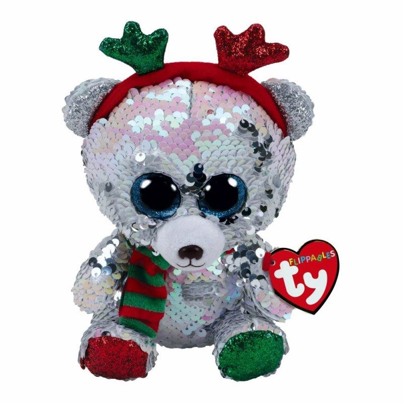 Teddybär Mistletoe, 15cm weiß / silber | Ty Flippables