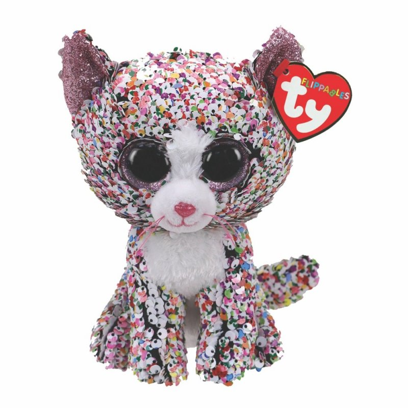 Katze Confetti, 15cm kunterbunt / weiß   Ty Flippables