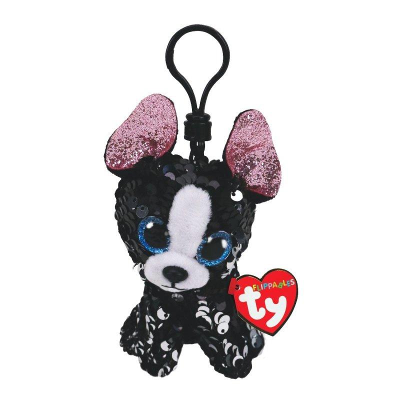 Terrier Portia, schwarz- silber   Schlüsselanhänger Ty Flippables