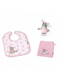 Inhalt Sterntaler Geschenkset; Mini-Spieluhr Esel Emmi Girl, Lätzchen und Waschhandschuh